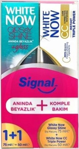 Signal White Glossy Shine 75 ml + Signal White CC Triple Power 50 ml Diş Macunu