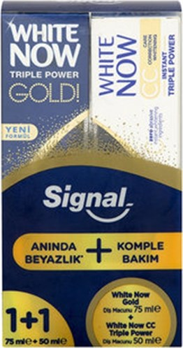 Signal White Now Gold Diş Macunu 75 ml + White Now CC Triple Power Diş Macunu 50 ml